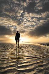 Alone (Riley_123) Tags: antonygormley liverpool crosbybeach anotherplace sunset coast seascape