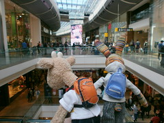 Georgia and Beulah, a bit overwhelmed by the Westfield, 19 May 13 (Castaway in Scotland) Tags: england rabbit london toy hare olympus giraffe jellycat d700