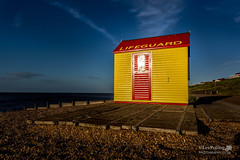 Tankerton Lifeguard Station (LeePellingPhotography.co.uk) Tags: blue light sunset red seascape beach station yellow point evening wooden kent shingle lifeguard hut whitstable groynes tankerton