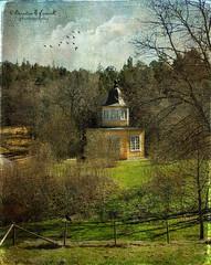 Nyckelviken (Kerstin Frank art) Tags: trees sky cloud house building bird texture birds museum fence garden stockholm nacka nyckelviken kerstinfrankart kerstinfranktexture lenabemanna