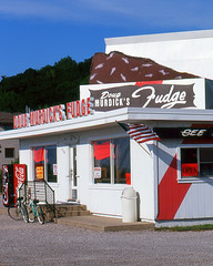 Doug Murdick's Fudge (scott_z28) Tags: old classic film sign mi canon vintage eos fuji michigan 85mm 7 slide fudge velvia americana 100 elan roadside traversecity f18 e6 ef reversal dougmurdicks