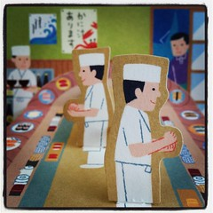 sushi bar pop-up greeting card (helloricecake) Tags: cute japan bar paper sushi card kawaii popup greeting instagram