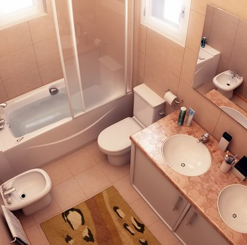 Banheiro pequeno com banheira