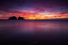 Aftermath (Martin Mattocks (mjm383)) Tags: longexposure sunset sky seascape reflection water silhouette rock clouds fire landscapes cornwall lee filters holywellbay singhray canoneos5dmarkii mjm383 martinmattocksphotography