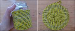 Apoio de panela - opes (super_ziper) Tags: diy handmade craft amarelo diferente reciclagem tutorial pap varal ch corda chaleira reaproveitamento aprenda barbante passoapasso comofazer superziper panelaquente comofaz descansodepanela pratoquente apoiodepanela