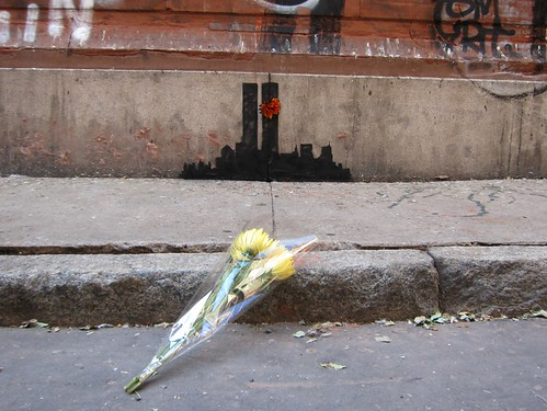 From flickr.com: Banksy Tribeca: Twin Towers, In Memoriam {MID-159626}