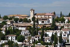 View from the Alhambra towards the Albayzín (Albaicín) district of Granada. In the center is Iglesia de San Nicolás, built in Mudéjar style in 1525.