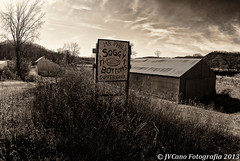 On the road for an eatery (citrusjig) Tags: bw fall wisconsin rural pentax farmland toned crawfordcounty zenitar16mmf28 soldiersgrove k200d mrphilssoggybottomssupperclub