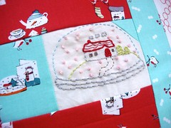 The Snow Globe (Bobby Pin Bandit) Tags: christmas embroidery sewing sew pillow stitches patchwork pillowcase snowglobe bordado embroider hoey aneela patchworkpillow cherrychristmas aneelahoey