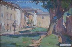 Romualdo Prati Piazza a Caldonazzo olio su cartone 24x36cm Collezione privata