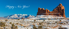 Happy New Year! (Happy Photographer) Tags: red snow rock utah amy archesnationalpark lasalmountains happyphotographer hudechek