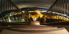 Home (John Westrock) Tags: longexposure night stairs landscape lights cloudy horizon fisheye pacificnorthwest curve washingtonstate issaquah 168 urbanlandscape olympusomdem5 rokinonfe75mftb75mmf35umcfisheyelens