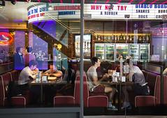 Diner (Michael Goldrei (microsketch)) Tags: street old food sun brick london window st photography photo view market photos eating burger sunny diner east eat burgers lane shoreditch through spitalfields spitalfield