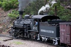 DSNG486FiremanDurangoCO6-13-15 (railohio) Tags: colorado trains steam durango narrowgauge d90 durangosilverton dsng 061315 trains75