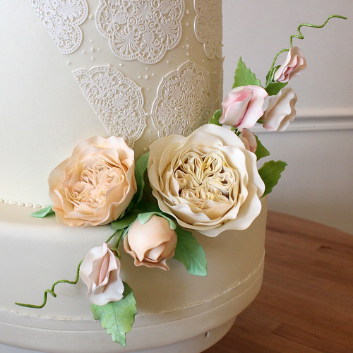 Close Up Sugar Juliet Roses and Sweet Peas
