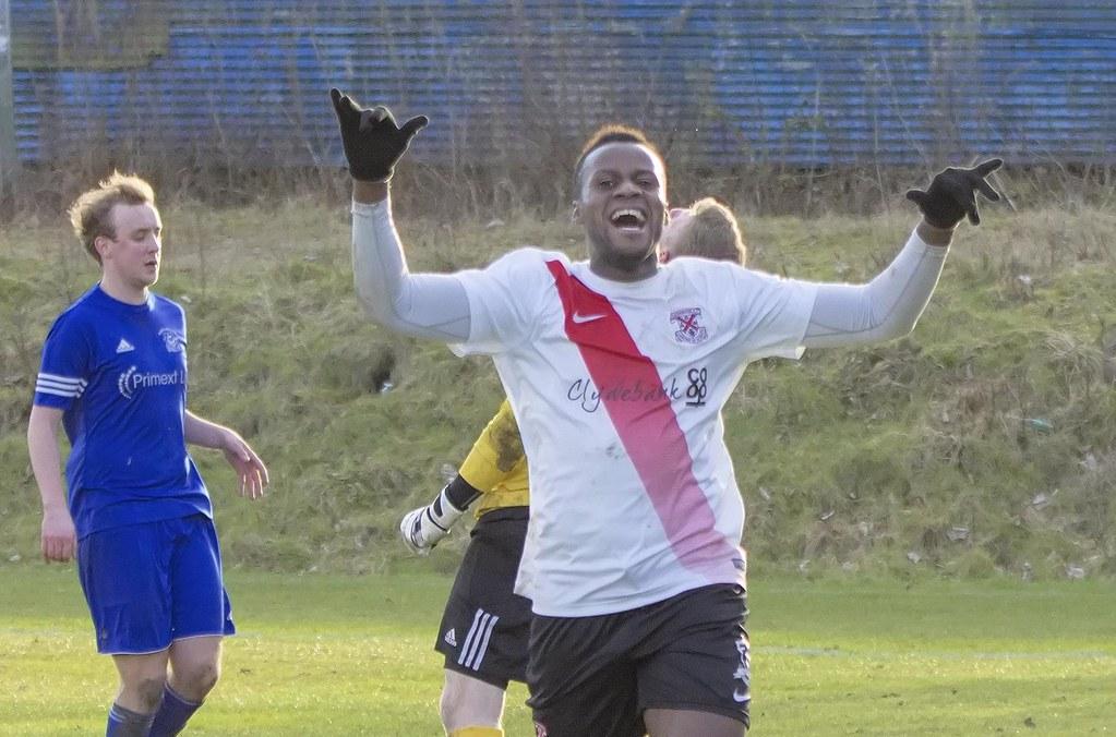 A Delighted Joel Kasubandi Stevie Doogan Tags Yoker Clydebank Mcbookiecom West Scotland League