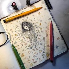 """Se la primavera fosse a tema libero io la vorrei così: un'infinita cascata di fiori """"a spring tale""""  ©pcamma all rights reserved 🌺 #pcamma #artpcamma #drawingthesoul #fairy #fairytales (pcamma) Tags: myart illustrazione illustration painting pittura artista artistic art pencil pen drawing draw disegno arte instagramapp square squareformat iphoneography"""