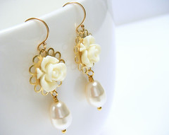 ivory gables earrings (merryalchemy) Tags: wedding flower floral necklace country cream ivory jewelry bracelet pearl earrings chic bridal shabby