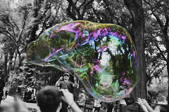 Life is like a bubble... (Howard L.) Tags: people kids canon children centralpark bubble streetvendor 50mmf14 howd 5dmiii