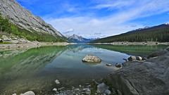 Medicine Lake (Liping Photo) Tags: park mountain lake canada reflection rock river jasper parks rocky canadian canyon national medicine canon5d karst f28 maligne icefield brazeau markiii 1638lii
