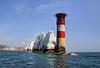 The Needles Lighthouse, Isle of Wight (**Anik Messier**) Tags: uk summer england lighthouse holiday coast chalk rocks europe landmark isleofwight whitecliffs englishchannel theneedles alumbay whiterocks culverdown coastuk needlesrocks welcomeuk