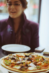(life of the mind) Tags: film smile canon happy photography friend with ae1 grain chillin pizza meal vegetarian laugh