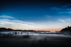 Noctilucent Night II (Mikko Lagerstedt) Tags: blue light shadow red mist color detail green art nature colors beautiful field misty fog night clouds suomi finland dark lens landscape photography photo nikon colorful mood view darkness natural image photos unique fineart fine foggy award atmosphere stranger lonely mikko d800 waterscape noctilucent lagerstedt