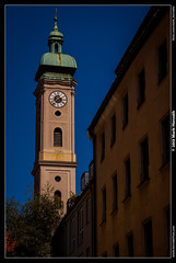 Clocktower (Mark Horvath) Tags: old city blue summer sky building tower window architecture facade canon germany munich mnchen bayern deutschland bavaria eos daylight town europe view center clocktower sight metropolitan centraleurope southerngermany 50d mrc6
