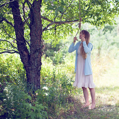 (Flimmy) Tags: pink blue woman green girl rose marie wisconsin forest woods pastel suicide rope blonde hanging lucht hang noose nightgown wausau nightie flimmy