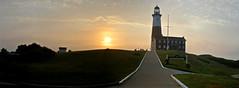 Montauk Point Lighthouse At Sunrise - 5 Photo Digitally Stitched Panoramic; Montauk, New York (hogophotoNY) Tags: camera morning usa lighthouse ny newyork digital sunrise us am unitedstates pano landmark panoramic longislandny longisland panasonic newyorkstate montauk eastcoast nystate newyorklandmark 2013 montaukny longislandnewyork panasonicdigitalcamera hogo lx3 easternusa stitchedpanoramic dmclx3 newyorkus hogophoto longislandusa hogophotony longislandnyus