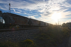 September Skies (No Real Name Given.) Tags: railroad summer art beautiful clouds train graffiti pretty south boxcar freight benching