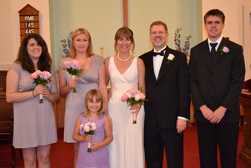 "Darrell Copeland (groom), son of William Delvie ""Bill"" Copeland, his daughter Erin Copeland (left) and son Evan Copeland (right), with his wife, Elizabeth and her family."