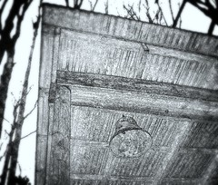 a corner of Twelve Stone (LauraSorrells) Tags: wood favorite painterly building monochrome rural georgia bell farm negative fade shelter beams 2011 talkingrock horserescuefarm twelvestonefarm
