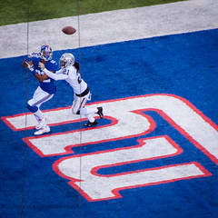 The Corner of the End Zone (Maxim34374) Tags: new york blue ny newyork sports field ball logo lights oakland fan football big uniform eli stadium nfl sunday helmet victor gameday cruz national giants metlife nicks tackle league cbs manning raiders terrell pigskin tuck elimanning gridiron pryor hakeem nyg janikowski