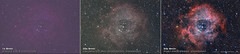 The Rosette Nebula, acquisition to processing, before and after (TheAstroShake) Tags: canon space nebula astrophotography astronomy dslr rosette