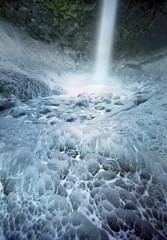 Frozen knuckles (Zeb Andrews) Tags: winter cold film oregon analog mediumformat frozen waterfall lofi pinhole pacificnorthwest 6x9 icy columbiarivergorge elowahfalls kodakektar100 woodencameras innova6x9