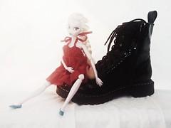 Elsa Red 1 (Cerulean Fish) Tags: red white black boot shoe frozen shoes doll dolls boots disney combat elsa