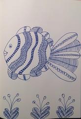 Zentangle fish (anviss) Tags: fish drawing vis tekening schets schetsboek zentangle
