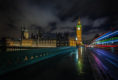 Timeshift (jellyfire) Tags: city longexposure nightphotography bridge england london clock water buses westminster thames architecture night clouds canon buildings reflections evening vanishingpoint time cloudy unitedkingdom bigben lighttrails bluehour redbus 1740mmf4lusm canon5dmkii