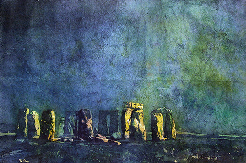 Stonehenge watercolor batik