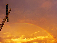 Mt. Tapyas cross and rainbow, Coron (jonhuskisson) Tags: travel sunset sunrise rainbow asia seasia southeastasia cross philippines backpacking coron palawan mttapyas mounttapyas coronisland