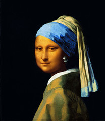 Mona Lisa with a pearl earring / Monna Lisa con orecchino di perla (pepe50) Tags: italy painting louvre monalisa davinci earring gioconda pearl vermeer leonardo perla leonardodavinci monnalisa lagioconda johannesvermeer pearlearring orecchino gioconde pepe50 orecchinodiperla ragazzacolturbante