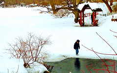 A kid walking on tin ice in the lake in Central Park New York (lelobnu) Tags: people lake snow newyork ice frozen centralpark manhattan streamzoo vision:text=0599 vision:sky=053 vision:outdoor=0703 dreamerstreamers