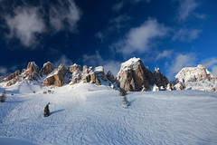 Dolomiti ((:Andrzej:)) Tags: blue sky italy snow mountains alps tree dolomiti offpiste
