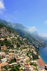 Positano (Armend Kabashi) Tags: life blue roof sea summer vacation sky italy sun white house mountain hot green beach window june clouds canon europe hill july august romantic amalfi
