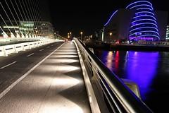 Samuel Beckett Bridge. Dublin, Ireland (Daniel Kliza) Tags: bridge ireland dublin architecture night photography dock long exposure republic bokeh centre sigma national convention docklands 18 ncc samuel docs roi 1835 becett