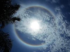 Solar Halo with high clouds moving in (Jim Mullhaupt) Tags: blue sky sun cold weather clouds rainbow flickr florida halo atmosphere upper coldfront bradenton icecrystals solarhalo mullhaupt jimmullhaupt