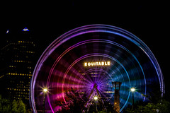 Runnin' around the city. Atlanta. (mikedunnit) Tags: atlanta urban abstract georgia downtown atl ferriswheel nightlife urbanite skyviewatlanta