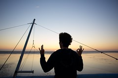 Chin mudra face to the Ocean... (Yonatan Souid) Tags: ocean yoga atlantic contemplation mudra mpdquebec yogalove