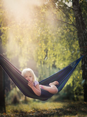 morning (iwona_podlasinska) Tags: morning trees light girl sunrise relax child hammock relaxation thoughtfull